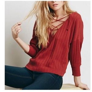 Free People laced up ribbed top